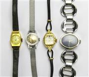 Sale 8196F - Lot 310 - FOUR LADYS VINTAGE MANUAL WRISTWATCHES; a 9ct Election with leather band (not working), a stainless steel Omega, a Dorna and a Valg...