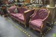 Sale 8418 - Lot 1017 - Good Gilt Framed 3 Piece Lounge Suite inc 2 Armchairs & Buttoned Settee in Mauve
