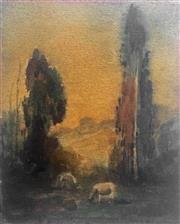 Sale 8442A - Lot 9 - Jesse Jewhurst Hilder (1881 - 1916) - Landscape with Sheep, c1907 25.5 x 20cm