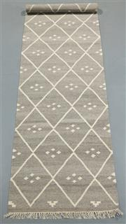 Sale 8438K - Lot 88 - Jaipur Veggie Dye Kilim Runner | 400x80cm, Pure Wool, Handwoven in Rajasthan, India with a pure NZ wool composition. Fully reversibl...