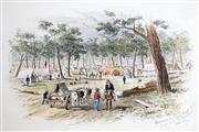 Sale 8563T - Lot 2136 - Samuel Thomas Gill (1818 - 1880) - Approach to Eagle Hawk Gully, from Road to Bendigo , June 29th 1832 12.5 x 18.5cm (mount size: 28.