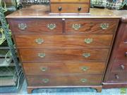 Sale 8634 - Lot 1004 - Late Georgian Mahogany Chest of Six Drawers, with later brass handles & bracket feet