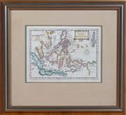 Sale 8625A - Lot 76 - A hand coloured engraved map Isles del Indie Orientale, in timber gilt frame, frame size 42 x 46cm.