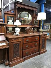 Sale 8817 - Lot 1099 - Late Victorian Blackwood Sideboard, the high back with multiple mirrors and shelves, the breakfront base with three drawers & two pa...