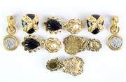 Sale 8879 - Lot 332 - FOUR PAIRS OF COSTUME GILT METAL CLIP EARRINGS; St John, Zoe Coste, Gem-Craft and reproduction coins marked Paris, 3-7cm.