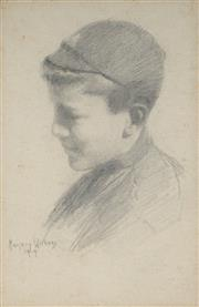 Sale 8938A - Lot 5084 - Margery Withers (1874 - 1966) - Portait of a School Boy, 1919 24 x 19 cm (frame: 39.5 x 28.5 x 1 cm)