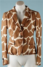 Sale 9090F - Lot 97 - A MOSCHINO CHEAP AND CHIC  BLAZER; Giraffe print on 100% linen, 3 wooden buttons, featuring draw string tie to the back, size USA 6...