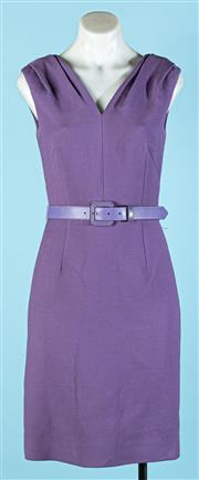 Sale 9090F - Lot 80 - A VINTAGE CHRISTIAN DIOR BELTED MIDI DRESS; in purble with button up front and ruched sleeves, size S