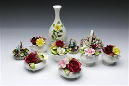 Sale 9098 - Lot 211 - Collection of Mostly Coalport Flower Bouquets together with a Bud Vase (H:16cm)