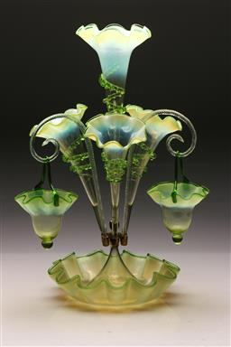 Sale 9122 - Lot 42 - An Art Glass Four Branch Epergne (H: 55cm)