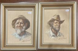 Sale 9106 - Lot 2035 - John Cornwell (two works) Emu Flat Fred & Mullet Mick, oil on canvas board, frame: 33 x 28 cm each, each signed lower right -