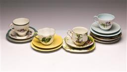 Sale 9110 - Lot 351 - Set Of Four Trios Incl shelley And Royal Grafton, Together With Saucers