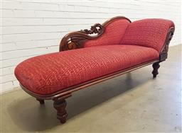 Sale 9142 - Lot 1074A - Late 19th Century Cedar Chaise Longue, with scroll carved back, upholstered in a red diaper patterned fabric & on turned legs  (h:80...