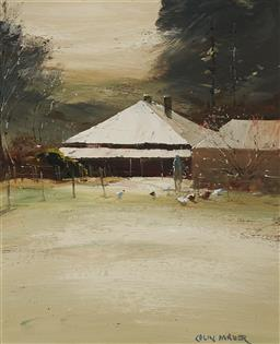 Sale 9141A - Lot 5014 - COLIN PARKER (1941 - ) Farm at Hill End, NSW oil on board 29.5 x 24.5 cm (frame: 45 x 40 x 4 cm) signed lower right