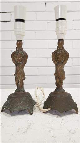 Sale 9157 - Lot 1059 - Pair of early brass cherub form table lamps (h32cm)