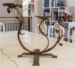 Sale 9165H - Lot 55 - A Franceso Patrolo three branch orgnanic form iron candle stand, height 47cm approx width 68cm