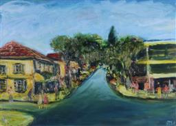 Sale 9191A - Lot 5008 - KEVIN CHARLES (PRO) HART (1928 - 2006) Street Scene, Double Bay oil on board 34 x 48 cm (frame: 69 x 82 x 3 cm) signed