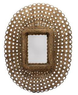 Sale 9200P - Lot 97 - A peacock mirror with centre mirror and mirrored surround, Height 150cm x Width 120cm