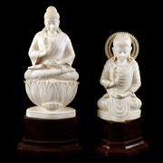 Sale 8000 - Lot 241 - Two Indian ivory figures of deities on timber base. Bearing Kerala Govt. Label.