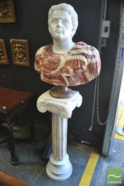 Sale 8291 - Lot 1087 - Large Vari-Coloured Marble Bust of a Roman Emperor, in military uniform, on a white marble Ionic pedestal.