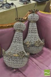 Sale 8418 - Lot 1018 - Pair of Basket Form Chandeliers