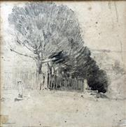 Sale 8442A - Lot 10 - Jesse Jewhurst Hilder (1881 - 1916) - Trees and Fence Line 15.5 x 15.5cm