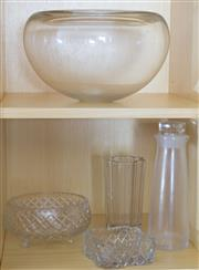 Sale 8486A - Lot 45 - Two shelf lots of glass wares including crystal bowls, vase, carafe and ashtray, largest H 20cm