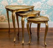 Sale 8500A - Lot 34 - A set of giltwood Italian Florentine nesting tables - Condition: Very Good (wear commensurate with age) - Measurements: Small 35cm (t..