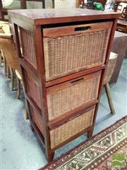 Sale 8545 - Lot 1075 - Timber & Wicker Chest of Three Drawers