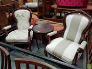 Sale 8570 - Lot 1044 - Two Matching Carved Timber Armchairs with Different Upholstery