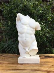Sale 8857H - Lot 30 - A Carved Marble Nude Male Torso Sculpture ,General Wear, Some chipping,Size:55cm H,