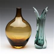 Sale 9086 - Lot 45 - T. Walus & Co. Polish crystal vase (H21cm) together with an amber coloured glass example