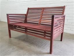Sale 9102 - Lot 1316 - Timber 2 seater bench (h:77 x w:118 x d:48cm)