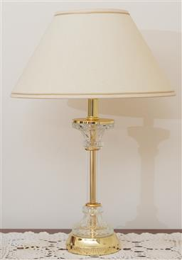 Sale 9155H - Lot 95 - A pair of brass, glass and acrylic column base lamps with cream shades. Total Height 52cm
