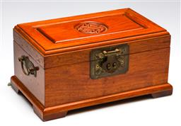 Sale 9253 - Lot 77 - A Chinese timber jewellery box with brass mounts and damask interior (13cm x 26.5cm x 16.5cm)