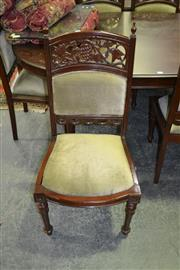 Sale 8124 - Lot 1088 - Set of 6 Mahogany Dining Chairs w Grape Carved Back
