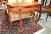 Sale 8282 - Lot 1062 - George III Satinwood & Marquetry Card Table, demi-line top with red velvet interior, on turned gate-legs (veneer missing from back g...