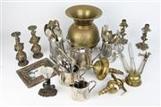 Sale 8396 - Lot 21 - Brass Pony Express Spittoon with Other Metal Wares Incl Three Piece Tea Set & Cutlery
