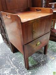 Sale 8598 - Lot 1025 - George III Mahogany Bedside Cabinet, the gallery top pierced with handles, above a door & pull-out drawer with chamber pot