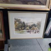 Sale 8636 - Lot 2019 - Morris Malone The River, watercolour. 57.5 x 74cm, signed and dated lower left -
