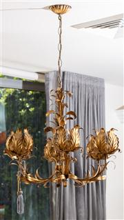 Sale 8703A - Lot 55 - A continental six form gilt metal foliate chandelier, height of drop 56cm