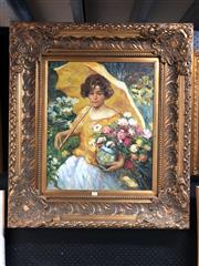 Sale 8853 - Lot 2075 - Artist Unknown - Yellow Parasol and Bouquet 92 83cm (frame), signed lower right -