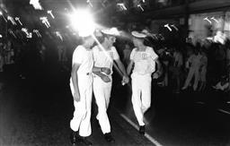 Sale 9082A - Lot 5014 - Sailors, Sydney Gay and Lesbian Mardi Gras Parade, Oxford Street (1988), 24.5 x 15.5 cm, silver gelatin, Photographer: Gary McLean
