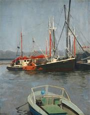 Sale 8992 - Lot 558 - Percy Leason (1889 - 1959) - Mooring 49 x 39 cm (frame: 62 x 52 x 4 cm)