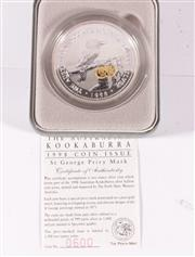 Sale 9035M - Lot 836 - The Perth Mint 1998 Kookaburra 2 oz Fine Silver proof $2 coin with pure gold insert featuring St George, cert no. 0600/1500