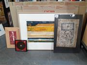 Sale 9082 - Lot 2071 - Group of (4) Assorted Artworks incl. Contemporary Works and Chinese Lacquer Painted Chart