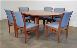 Sale 9255 - Lot 1089A - Round parker teak dining table with single butterfly leaf, cross banded edge and 6 blue fabric upholstered chairs (h73 x d120cm) wit...