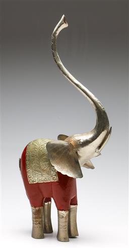 Sale 9253 - Lot 245 - A pressed metal and timber elephant (H:56cm)