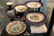 Sale 8276 - Lot 80 - Hand Painted Set of 3 Floral Tazzas with Other Ceramics incl. a Wedgwood Card Set Holder