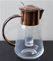 Sale 8310A - Lot 83 - A quality EP and glass water jug with ice compartment, H 27cm